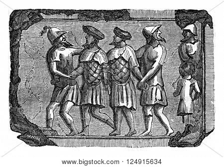 Bas-relief of the facts Bretons prisoners lags Antique Cabinet, vintage engraved illustration. Colorful History of England, 1837.