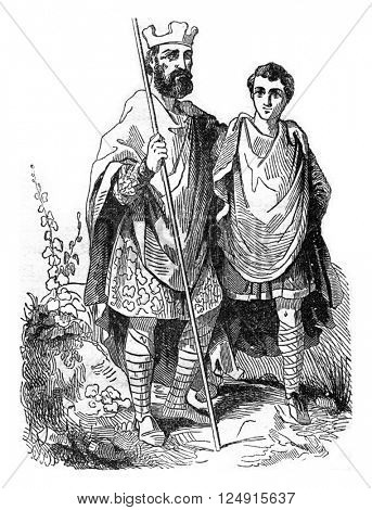 King Edgar and a noble Saxon, vintage engraved illustration. Colorful History of England, 1837.