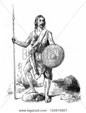 Breton warrior, vintage engraved illustration. Colorful History of England, 1837.