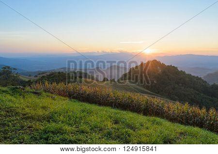 Sunset over mountain in sri nan national park thailand