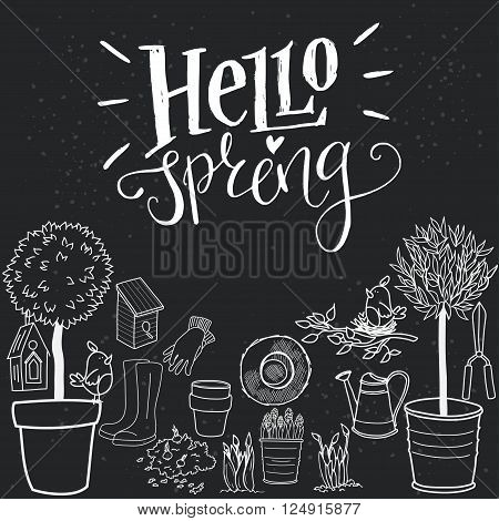 Set of hand drawn garden tools pot ground watering can olive tree in a pot straw hat gloves rubber boots and bird house on a chalkboard background. 'Hello spring' hand lettering.