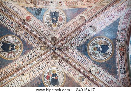 Florence, Italy-June 2, 2016. Ceiling artwork detail of the Basilica of Santa Maria Novella, situated just across from the main railway station which shares its name. Chronologically, it is the first great basilica in Florence.