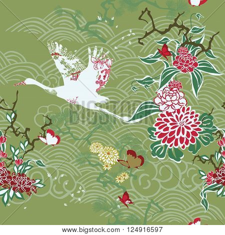 Seamless background with a Japanese theme. Crane and ikebana on green.