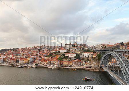 PORTO, PORTUGAL - November 25, 2014: Old bridge Dom Luis and old Porto city