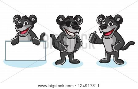 Panther Mascot Vector pose, happy and bring board