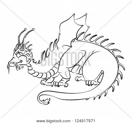 black and white image of a dragon - suitable for a child's coloring and not only