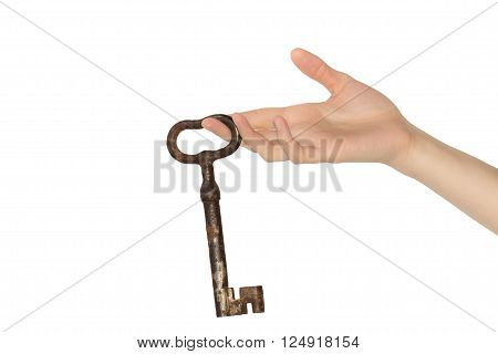 Woman hand with old key on white background