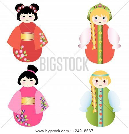 Russian dolls and the Chinese  doll together on a white background