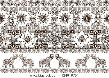 seamless decorative pattern with Indian ornaments in style mehndi