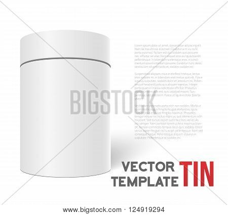 Illustration of White 3D Vector Tea Box Cylinder Isolated on White Background. Tea Cofee Can Template for your Store