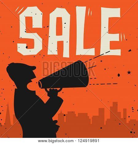 Megaphone Man business concept with text Sale, vector illustration