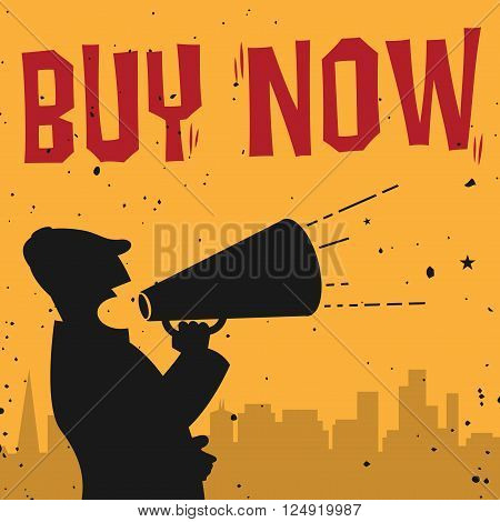 Megaphone Man business concept with text Buy Now, vector illustration