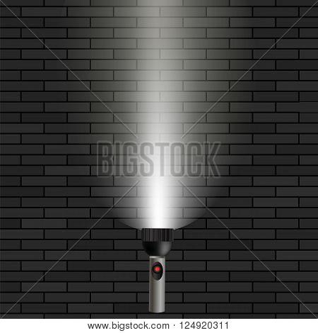 Light Flash on Dark Brick Background. White Beam of Light