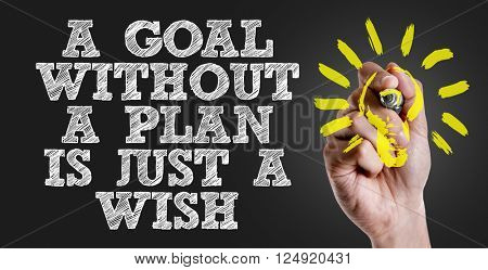 Hand writing the text: A Goal Without a Plan Is Just a Wish