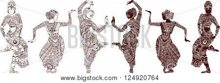 Indian dancers set of hand-drawn style mehendi