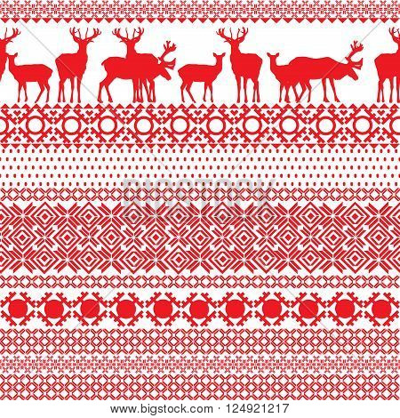 Christmas seamless background with patterns of Lapland