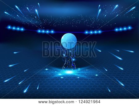 Soccer night stadium - abstract vector background blue glow illustration football night stadium
