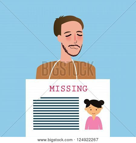 man holding sign of missing children kids announcement board vector