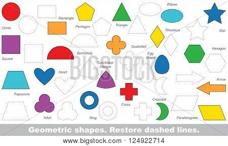 Set of simple shapes in vector to be traced. Restore dashed line and color the picture. Trace game for children.