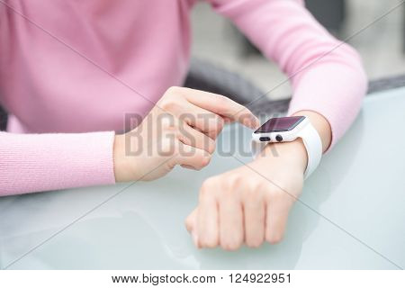 Woman touch on monitor
