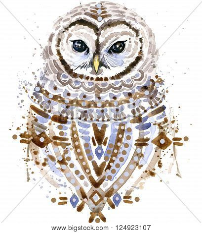 Cute Owl. Watercolor Owl. Owl Tee Shirt illustration. Ethnic background. Watercolor bird