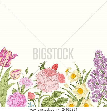 Summer floral vintage vector background. Blossoming garden colorful flowers on a beige background. Rose lilac carnation daffodil tulip.