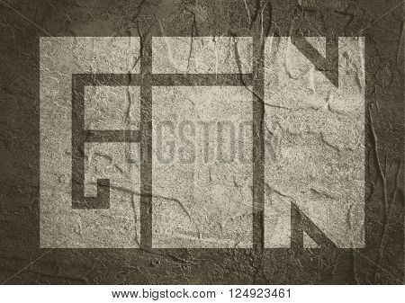 Drink alcohol beverage. Gin word lettering. Concrete textured