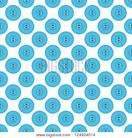 Blue flat design clothing buttons with threads seamless pattern background.