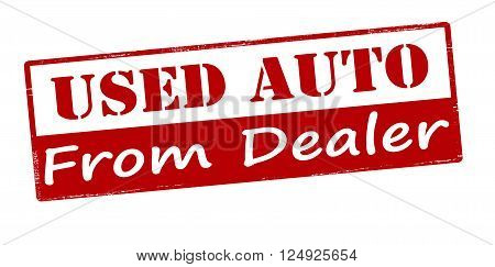 Rubber stamp with text used auto from dealer inside vector illustration