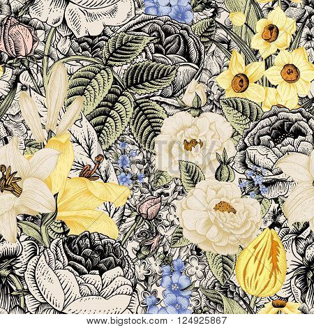 Summer seamless floral pattern. Vintage flowers Art. Flowers roses white and yellow lilies daffodils tulips and blue delphinium and forget-me on a beige and black background.