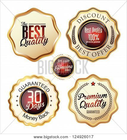 Premium Quality Gold And Red Badges.eps
