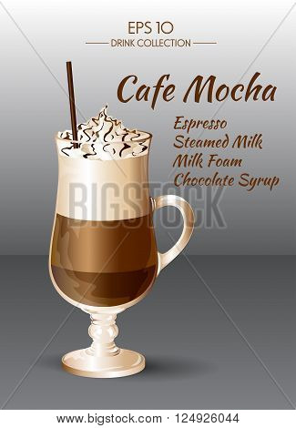 Vector illustration. Coffee drink. Coffee Mocha in transparent drinking glass cup. Food and drink collection