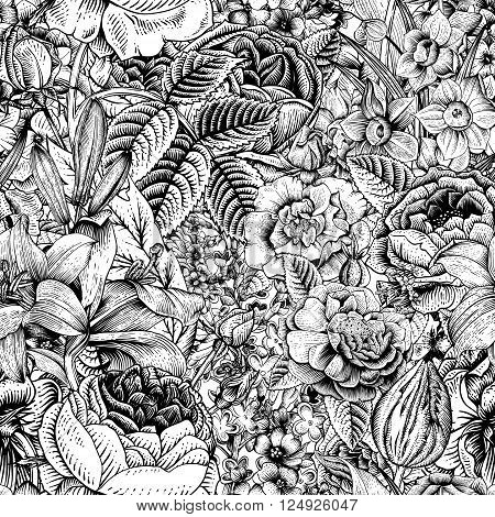 Summer seamless floral pattern. Vintage flowers Art. Black and white graphics. Roses lilies daffodils tulips and delphinium. Monochrome.