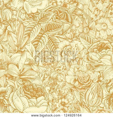 Summer seamless floral pattern. Vintage flowers Art. Gold flowers on a beige background. Roses lilies daffodils tulips and delphinium.