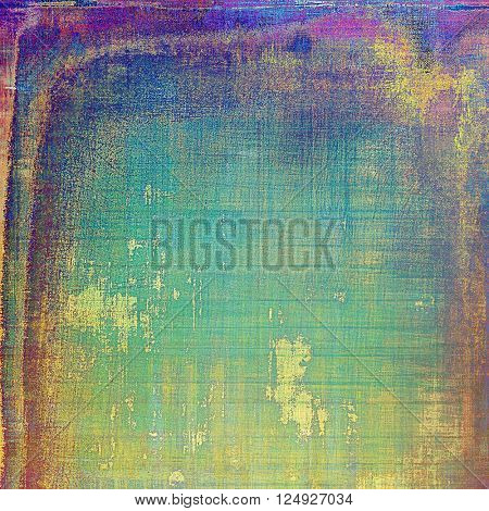 Abstract scratched background or frame with weathered grunge texture. Ancient style backdrop with different color patterns: yellow (beige); green; blue; red (orange); purple (violet)