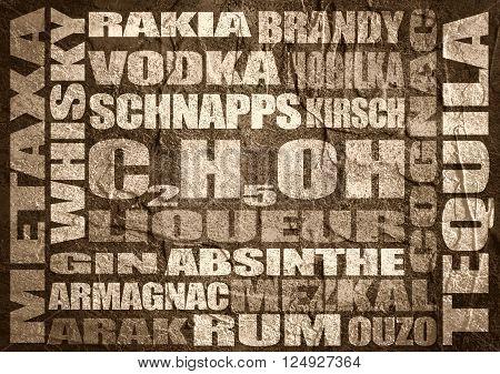 Different drinks list. Drink alcohol beverage. Relative words cloud. Concrete textured