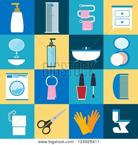 Flat style vector illustration. Bathroom furniture with interior accessories for washing and hygiene accessories icons set isolated on colored background. Personal hygiene and beauty