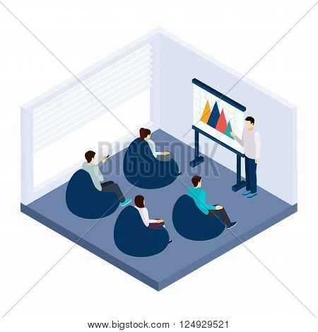 Coworking training for people with presentation and explanation isometric vector illustration