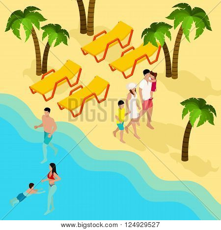 Tropical beach family vacation isometric banner with parents and kids bathing swimming and tanning abstract vector illustration