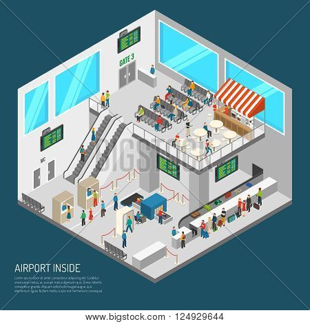 Airport poster of terminal inside presenting arrival hall receipt of baggage inspection zone and other isometric vector illustration
