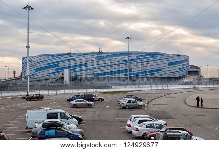 Sochi, Russia - February 5, 2016: The Shayba Arena is a 7, 000-seat multi-purpose arena located at Sochi Park in Adler