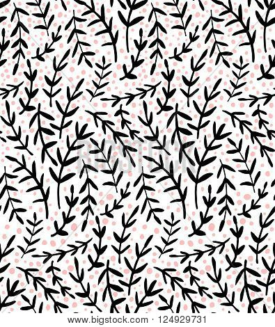 vector seamless pattern with cute hand drawn branches with leaves and pink dots