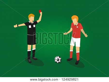 vector illustration of a soccer referee showing red card to a soccer player