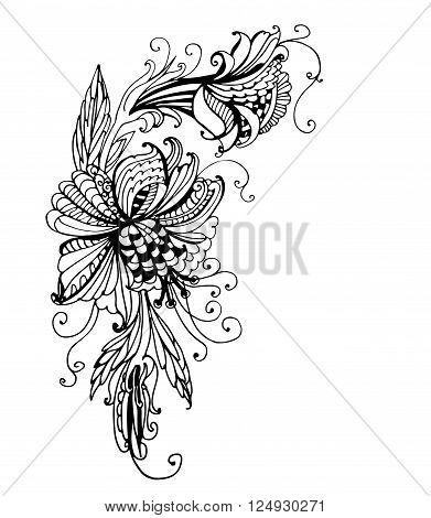 drawing fantastic flower garland with curls angular frame sketch doodle linear contour ink vector illustration