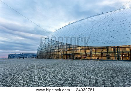 Sochi, Russia - February 5, 2016: The hockey stadium which is in Olympic Park in Sochi. It was the main hockey stadium during the Olympic Winter Games in 2014.