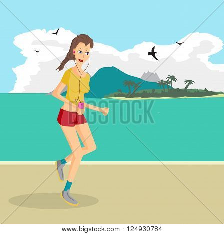 Vector modern flat design woman wearing headphones listening music. Cartoon character of music lover enjoying his favorite track. Music lover woman listening to music and playing sports runs on beach