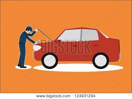 vector cartoon of car mechanic repairman working in garage