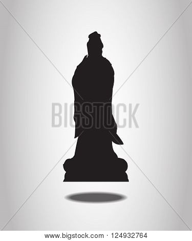 Guanyin Statue Silhouettes on the white background