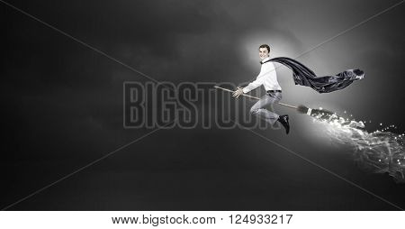Man riding besom