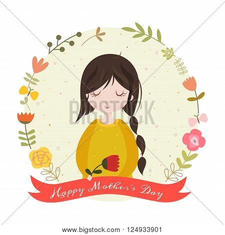 Happy mothers day card with adorable cartoon girl and flowers. Mothers Day frame on white background. Vector illustration.